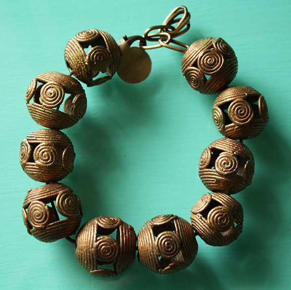 African brass beaded bracelet