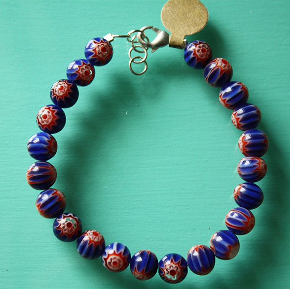 Blue & red African bead bracelet