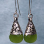 Green Quartz & silver Tibetan earrings