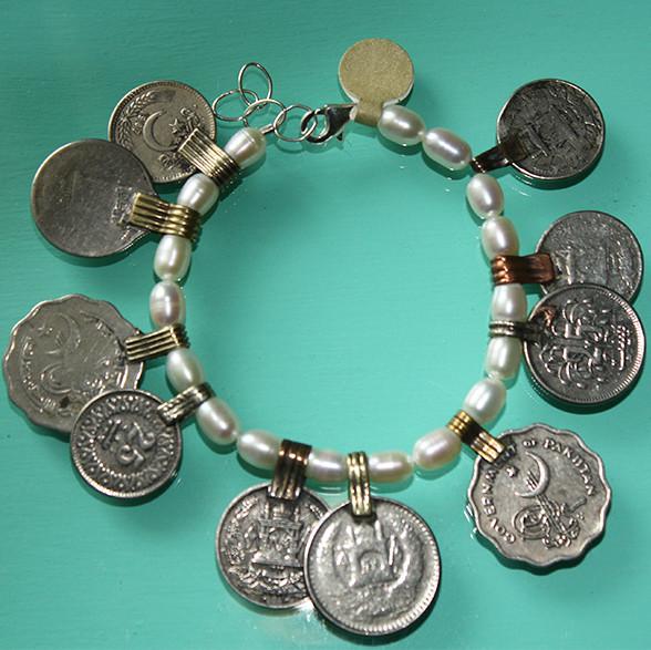 Pearl & Afghani coin pendant bracelet