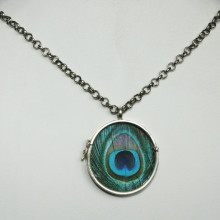 Silver necklace with peacock