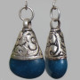 Stone & Silver Tibetan earrings