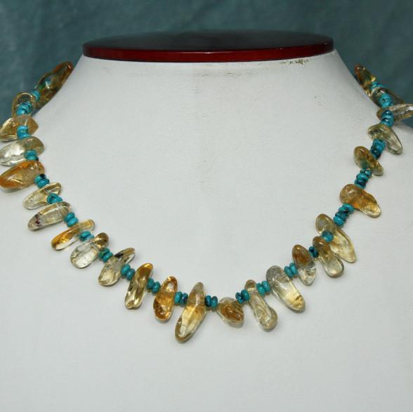 Turquoise & citrine necklace