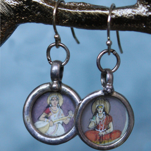 tiny indian painting earring