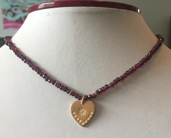 Garnet Necklace with Vermeil Heart Charm