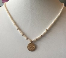 Pearl Necklace with Vermeil Ohm Pendant
