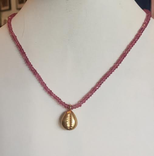 Pink Tourmaline necklace with Vermeil Cowrie Shell