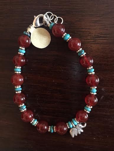 Turquoise, Carnelian, and Silver Elephant Bracelet