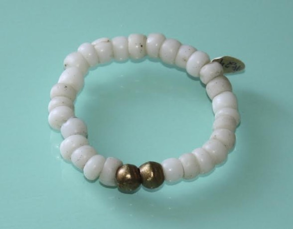 Brass and White African glass bracelet $36
