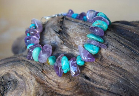 Chunky Turquoise and Amethyst Bracelet $45