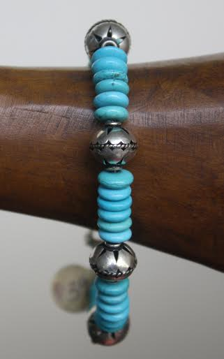 Turquoise and Pewter bracelet $34