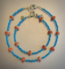 Coral, Turquoise, and Gold Bracelet