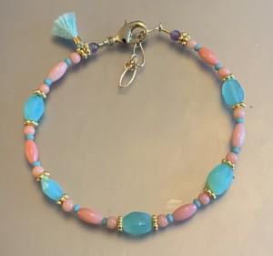 Coral and Aqua Tassel Bracelet