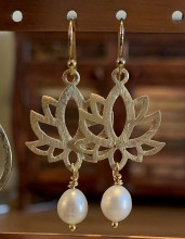 Gold and Pearl Lotus Earrings